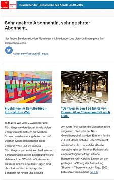 Screenshot des Newsletters vom 30. Oktober 2015
