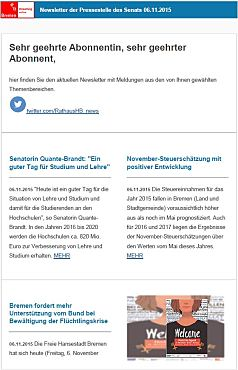 Screenshot des Newsletters vom 06. November 2015