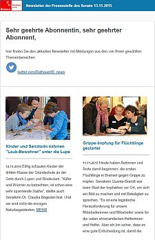 Screenshot des Newsletters vom 13. November 2015
