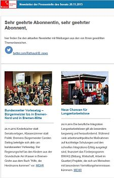 Screenshot des Newsletters vom 20. November 2015