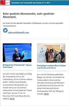 Screenshot des Newsletters vom 27. November 2015