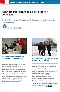Screenshot des Newsletters vom 08. Januar 2016