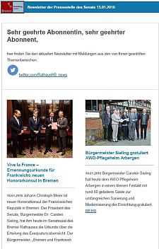 Screenshot des Newsletters vom 15. Januar 2016