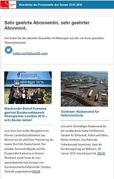 Screenshot des Newsletters vom 22. Januar 2016