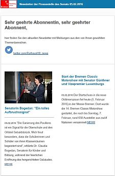Screenshot des Newsletters vom 05. Februar 2016