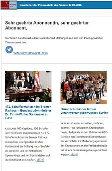 Screenshot des Newsletters vom 12. Februar 2016