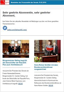 Screenshot des Newsletters vom 19. Februar 2016