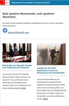 Screenshot des Newsletters vom 26. Februar 2016