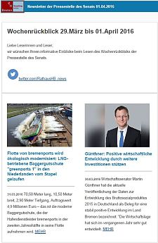 Screenshot des Newsletters vom 01. April 2016