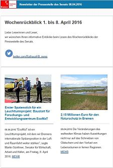 Screenshot des Newsletters vom 08. April 2016