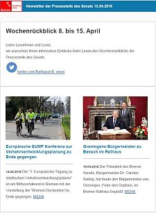 Screenshot des Newsletters vom 15. April 2016