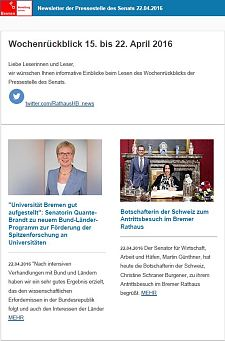 Screenshot des Newsletters vom 22. April 2016