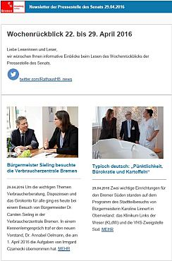 Screenshot des Newsletters vom 29. April 2016