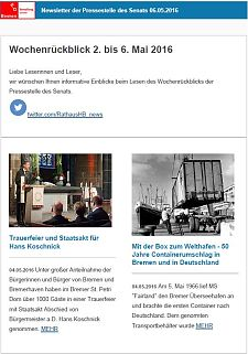 Screenshot des Newsletters vom 06. Mai 2016