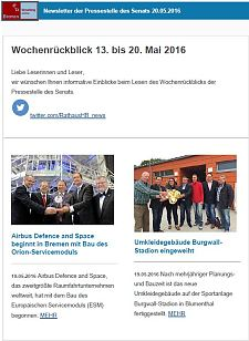 Screenshot des Newsletters vom 20. Mai 2016