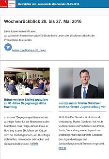Screenshot des Newsletters vom 27. Mai 2016