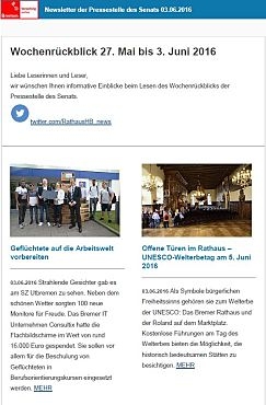 Screenshot des Newsletters vom 03. Juni 2016