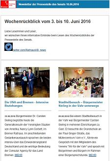 Screenshot des Newsletters vom 10. Juni 2016