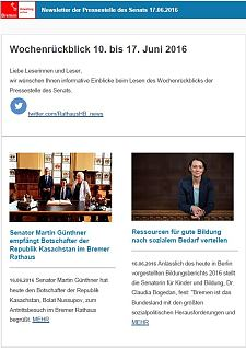 Screenshot des Newsletters vom 17. Juni 2016