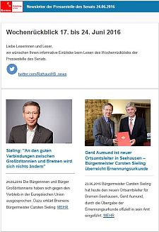 Screenshot des Newsletters vom 24. Juni 2016
