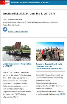 Screenshot des Newsletters vom 01. Juli 2016