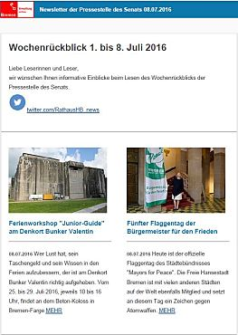 Screenshot des Newsletters vom 08. Juli 2016