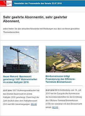 Screenshot des Newsletters vom 22. Juli 2016