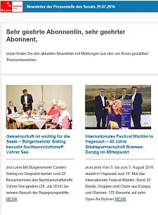 Screenshot des Newsletters vom 29. Juli 2016