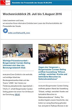 Screenshot des Newsletters vom 05. August 2016