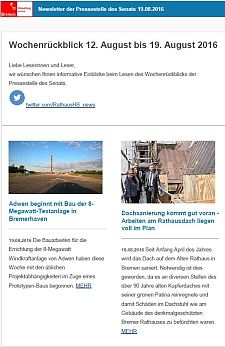 Screenshot des Newsletters vom 19. August 2016