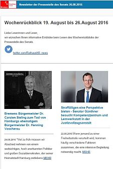 Screenshot des Newsletters vom 26. August 2016