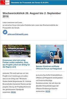Screenshot des Newsletters vom 02. September 2016