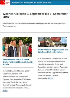 Screenshot des Newsletters vom 09. September 2016