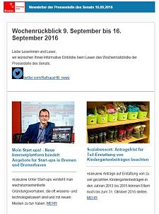 Screenshot des Newsletters vom 16. September 2016