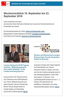 Screenshot des Newsletters vom 23. September 2016