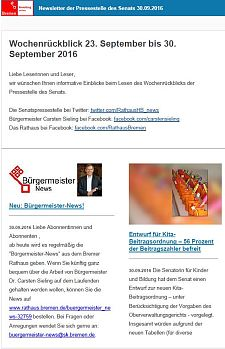 Screenshot des Newsletters vom 30. September 2016