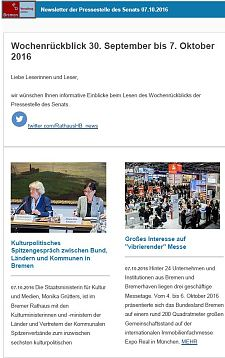 Screenshot des Newsletters vom 07. Oktober 2016