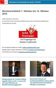 Screenshot des Newsletters vom 14. Oktober 2016