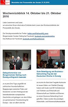 Screenshot des Newsletters vom 21. Oktober 2016
