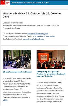 Screenshot des Newsletters vom 28. Oktober 2016