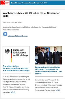 Screenshot des Newsletters vom 04. November 2016