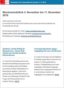 Screenshot des Newsletters vom 11. November 2016