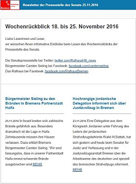 Screenshot des Newsletters vom 25. November 2016