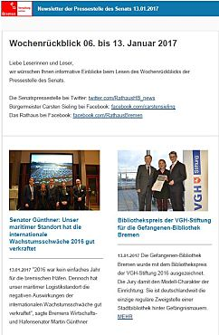 Screenshot des Newsletters vom 13. Januar 2017