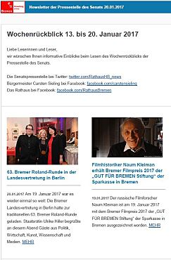 Screenshot des Newsletters vom 20. Januar 2017