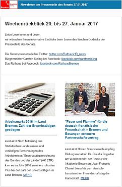 Screenshot des Newsletters vom 27. Januar 2017