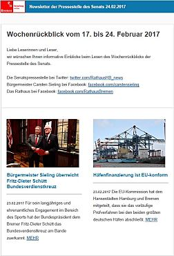Screenshot des Newsletters vom 19. Mai 2017