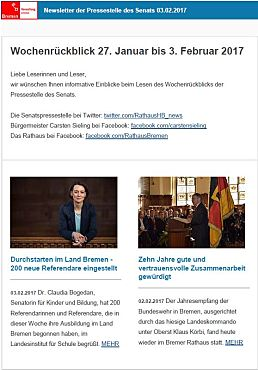 Screenshot des Newsletters vom 03. Februar 2017