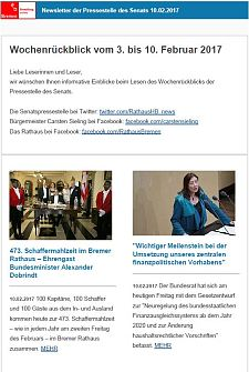 Screenshot des Newsletters vom 10. Februar 2017