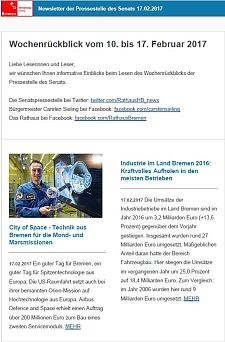 Screenshot des Newsletters vom 17. Februar 2017